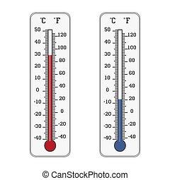 Thermometer Ikone. Celsius und Fahrenheit messen Hitze und Kälte