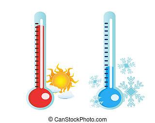 Thermometer in warmen und kalten Temperaturen.