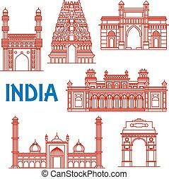 Thin Line Architektur Wahrzeichen Indiens Ikonen.