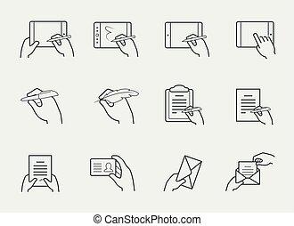 Thin Line Icon Set von Händen halten und mit Objekten interagieren.