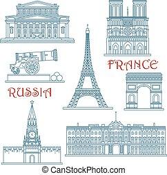 Thin Line russisch und Französich Wahrzeichen