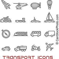 Thin Line Transport Icons gesetzt.