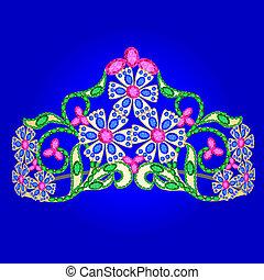 Tiara Frauenhochzeit mit Edelsteinen auf Blau
