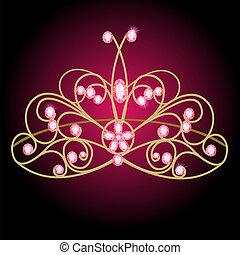 Tiara Frauenhochzeit mit rosa Edelsteinen