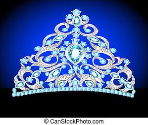 Tiara krönen Frauen Hochzeit mit einem blauen Stein.