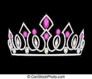 Tiara-Kronen-Frauenhochzeit mit rosa Steinen