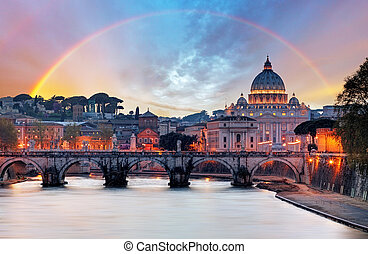 Tiber und St. Peter Basilika in Vatican mit Regenbogen, roma.
