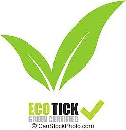 Tick-Logo mit grünen Blättern.