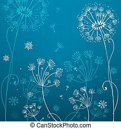 Tiefblaue Löwenzahnblumen.
