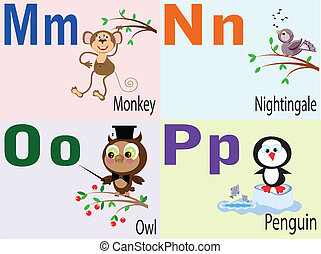 Tier Alphabet M, N, O, P.