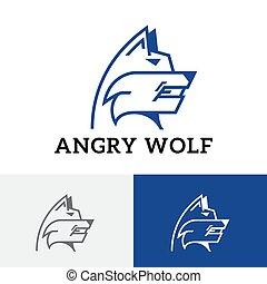 tier, böser , heftig, wachhund, hund, wache, logo, wolf, wild