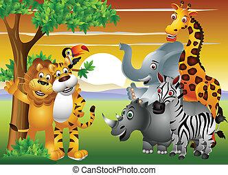 Tier Cartoon im Dschungel