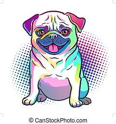 tier, element., design, thema, white., hell, freigestellt, punkt, abbildung, kunst, farben, liebhaber, hintergrund, mops, haustiere, knall, stil, hund, halftone, hunden, neon, regenbogen
