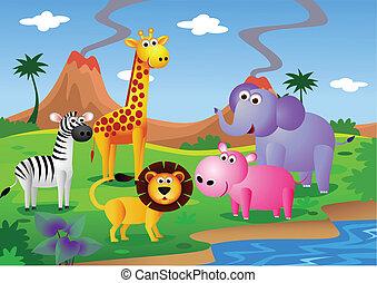 Tier-Karikatur in der Wildnis