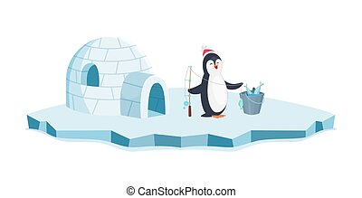 tier, pinguin, freigestellt, hintergrund, glückliches weihnachten, weißer fisch, wischeimer, vektor, fishing., eis, karikatur, illustration.
