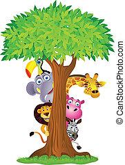 Tier-Zeichentrickfilm hinter dem Baum