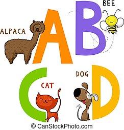 Tieralphabet A, B, C und D.
