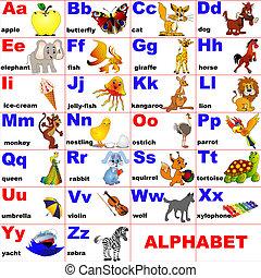 Tiere auf Buchstaben des Alphabets platziert