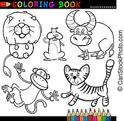 Tiere für Farbbuch oder Seite