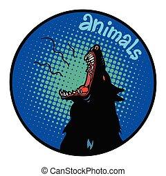 Tiere heulen Ikonensymbolkreise