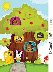 Tiere in einem Baumhaus