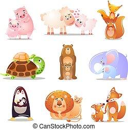 tiere, kids., satz, vektor, style., wohnung, abbildung, reizend, ihr, karikatur
