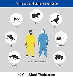 tiere, menschen, probe, house., tragen, persönlich, illustrieren, schützend, stören, ausrüstung