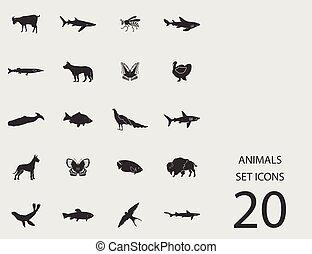 Tiere mit flachen Ikonen. Vector Illustration