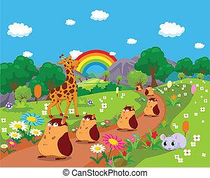 Tiere mit Hintergrund.