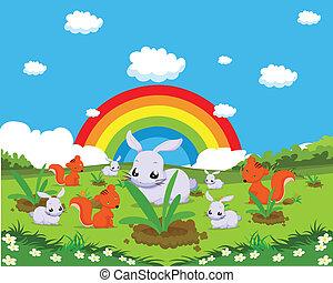 Tiere mit Kaninchen.