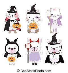 tiere, reizend, satz, halloween, kind, abbildung, karikatur