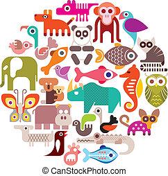 Tiere rund um die Vektorgrafik