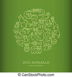 Tiere rund um grüne Vektorgrafik.