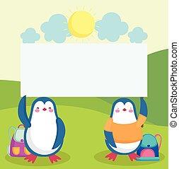 tiere, schule, pinguine