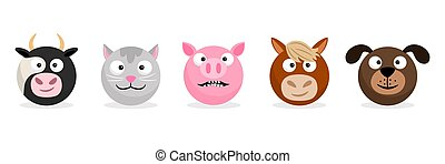 Tiere und Haustiere stehen vor Emoticons. Vector Cartoon Emojis