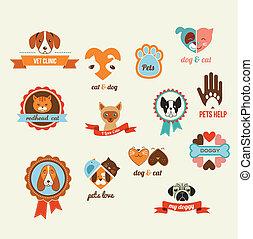 Tiere Vektor-Icons - Katzen und Hundeelemente.