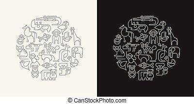 Tiere zeigen Vektorgrafik
