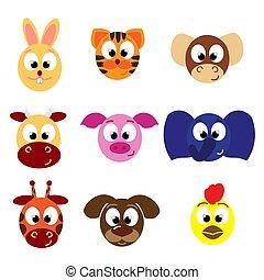 Tieremoticons. Gesichtssymbole