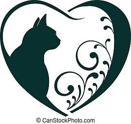Tiermedizinische Herzkatze lieben.