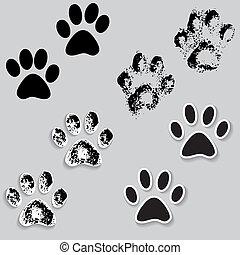 Tierpfotenpfoten-Füße drucken Ikonen mit Schatten.