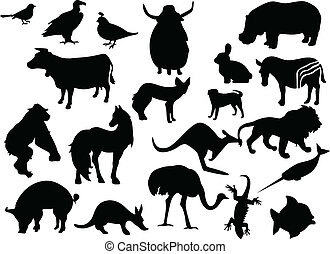 Tiervektor schwarze Silhouette. Ein Klickfarbenwechsel