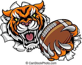 Tiger American Football Ball bricht den Hintergrund.