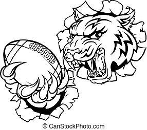 tiger, amerikanische , spieler, sport, fußball, maskottchen