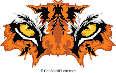 tiger, augenpaar, maskottchen, grafik
