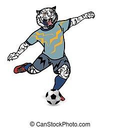 Tiger Footballspieler tritt Football auf weißem Hintergrund.