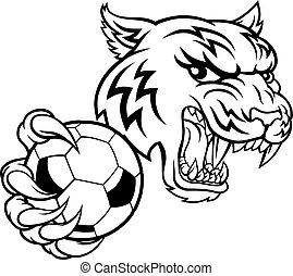 tiger, fußball, tier, spieler, maskottchen, fußball, sport