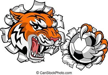 tiger, fußballspieler, tier, fußball, sport, maskottchen
