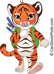 Tiger geht zur Schule.