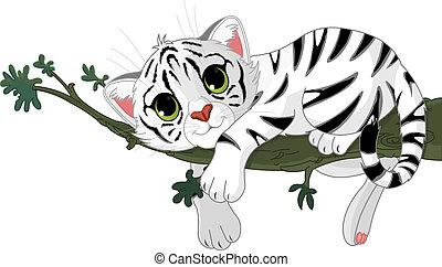Tiger ist auf einem Ast