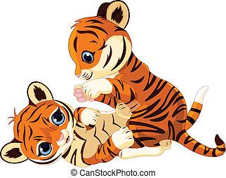 tiger- junges, verspielt, reizend